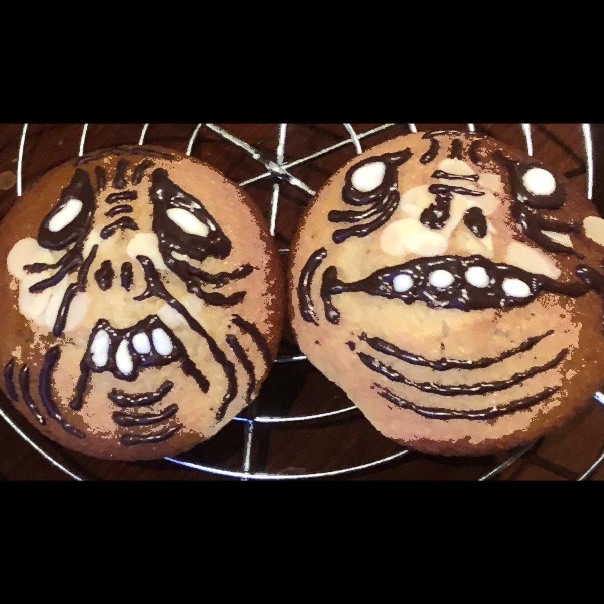 test ツイッターメディア - 焦がして香る至極のマフィン(プレーン)のホラーバージョン作りました。 紅はるか使用の焼き芋米粉マフィンも焼きました! 栗入り、餅入り、ラムレーズン&くるみ入りがあります。是非に。😙  #halloween #ハロウィン #ホラー #horror #米粉 #米油 #米粉マフィン #チョコミントマフィン断面 https://t.co/ZxbdvQIjga
