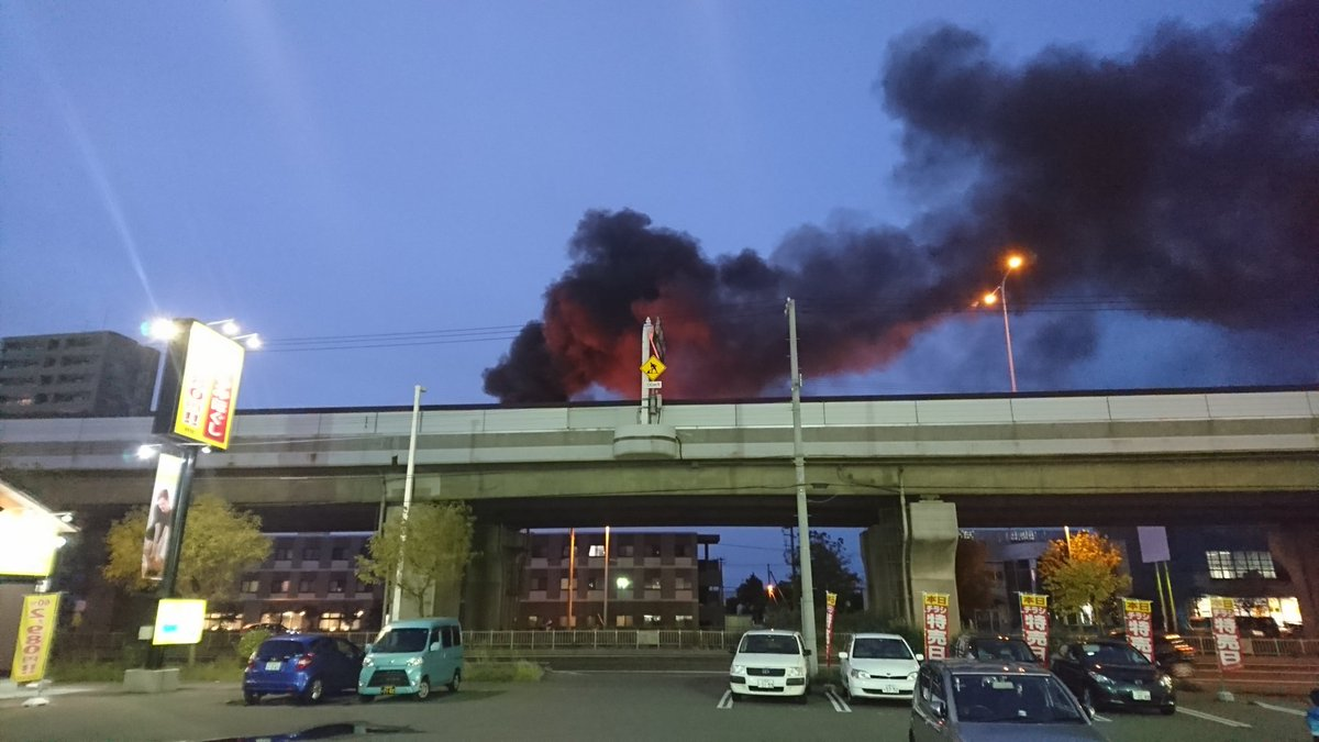 札樽道で車両火災の現場の画像