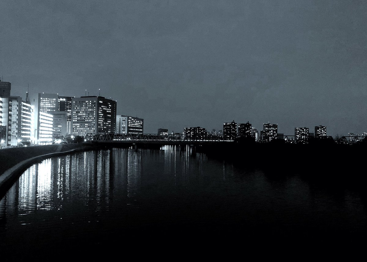 test ツイッターメディア - こんばんは〜〜 そして、おやすみなさい 2018/10/15   17:32:00 六郷橋から、ガス橋、丸子橋方向を観てます 六郷鉄橋を東海道線が渡ってますね〜本日もありがとうございました🙏 #iPhoneで撮影 #ProCam #モノクロ写真 https://t.co/POWhgv8KJj