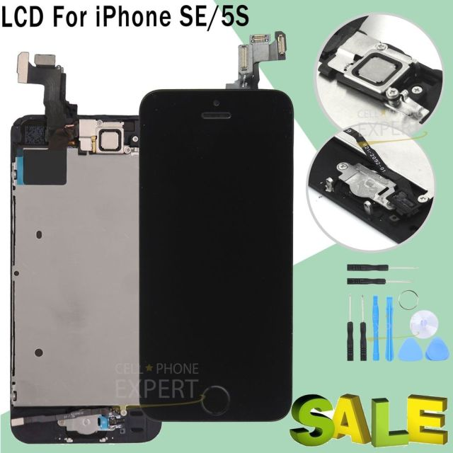 For iPhone SE 5S Touch Screen LCD Digitizer Replacement Home Button Camera...