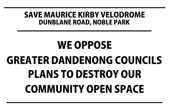 """test Twitter Media - Crunch time to save Maurice Kirby Velodrome in Noble Park and challenge @greaterdandy """"foregone decision"""" to destroy it, print our poster, contact your ward councillors and contact #Melbourne #media  More details >> https://t.co/4TcsqDblpC #Dandenong #cycling #Melbourne https://t.co/elNWpbTxXG"""