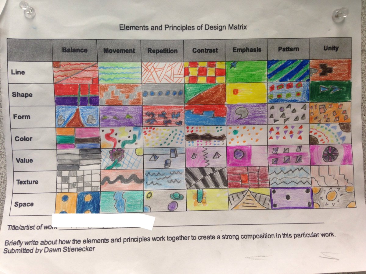 Elements And Principles Of Design Matrix Worksheet