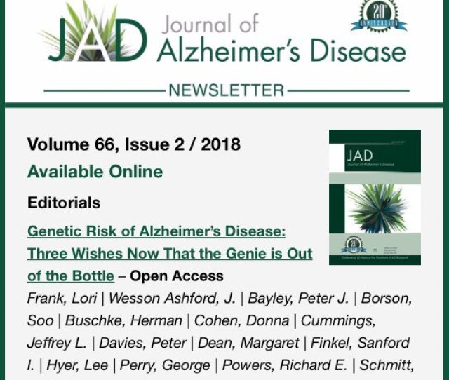 In Jad  Genetic Risk Of Alzheimers Disease Which Is Online At Https Content Iospress Com Articles Journal Of Alzheimers Disease Jad