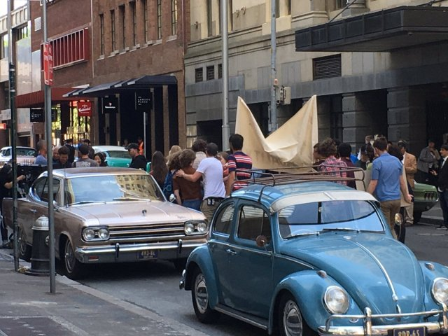 Extras dressed in 60s fashion at work on Phillip Street #sydney...