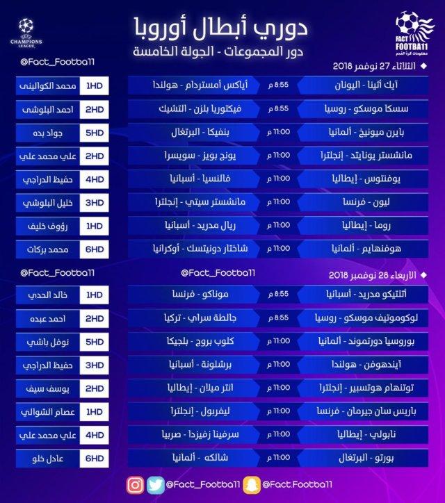 مواعيد مباريات اليوم الثلاثاء 27 نوفمبر 2018 المعلقين والقنوات الناقلة 25
