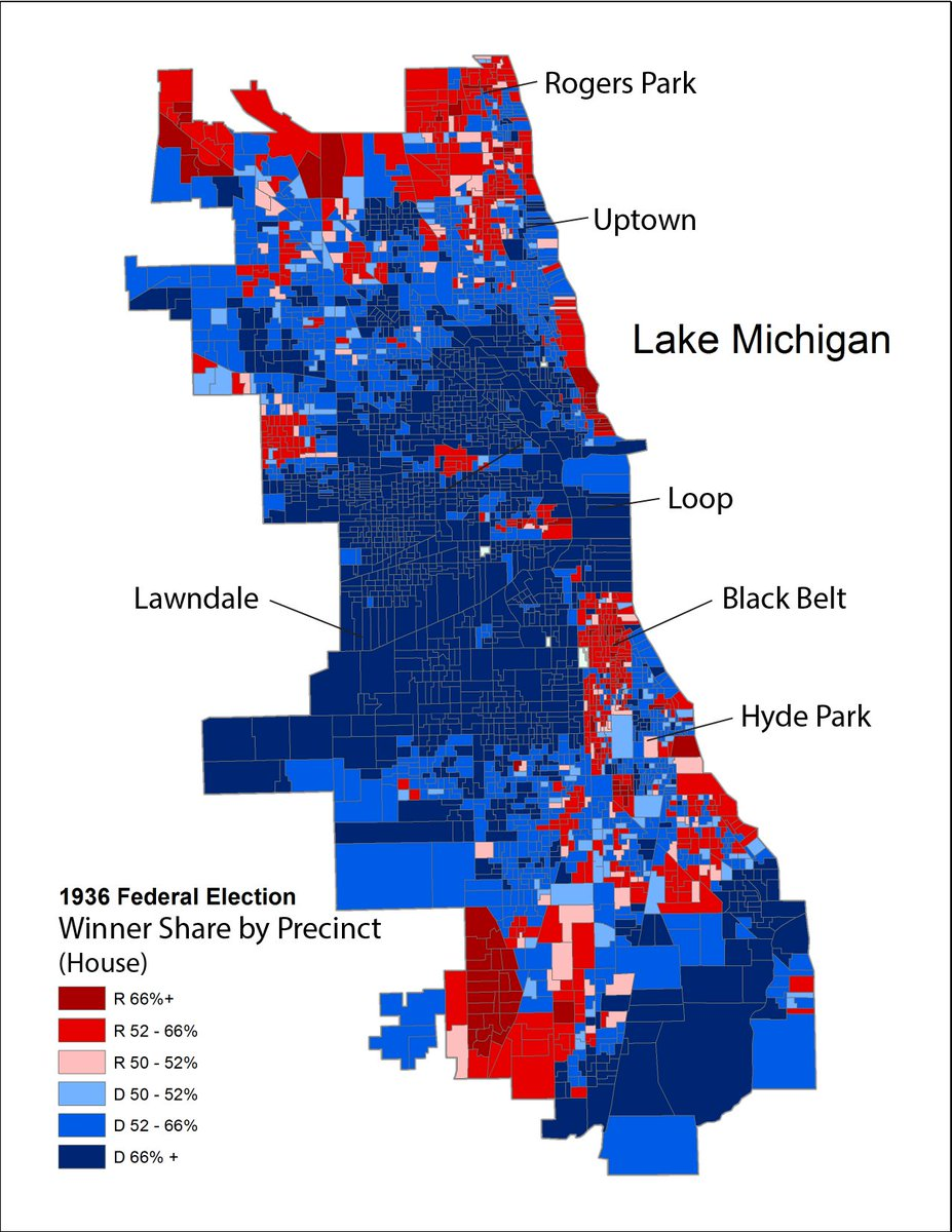 Ladale Winling On Twitter In New Work On The Chicago Elections Project I M Happy To Say I Ve Got A Draft Map Of The 1936 Elections For House And President This Is Precinct Level