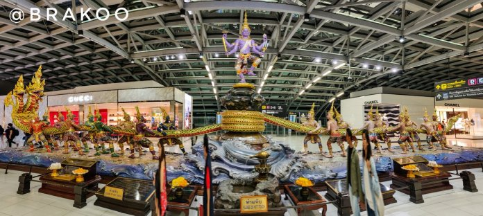 Bharath Ar Twitter Difficult To Take A Panorama Shot With So Many People Moving About You But Nevertheless Here S The Samudra Manthan Scene From Suvarnabhumi Airport Https T Co Xgkrut4q7b