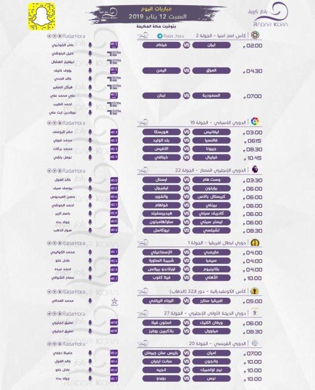 مواعيد مباريات اليوم السبت 12 - 01 - 2019 والمعلقين والقنوات الناقله 25