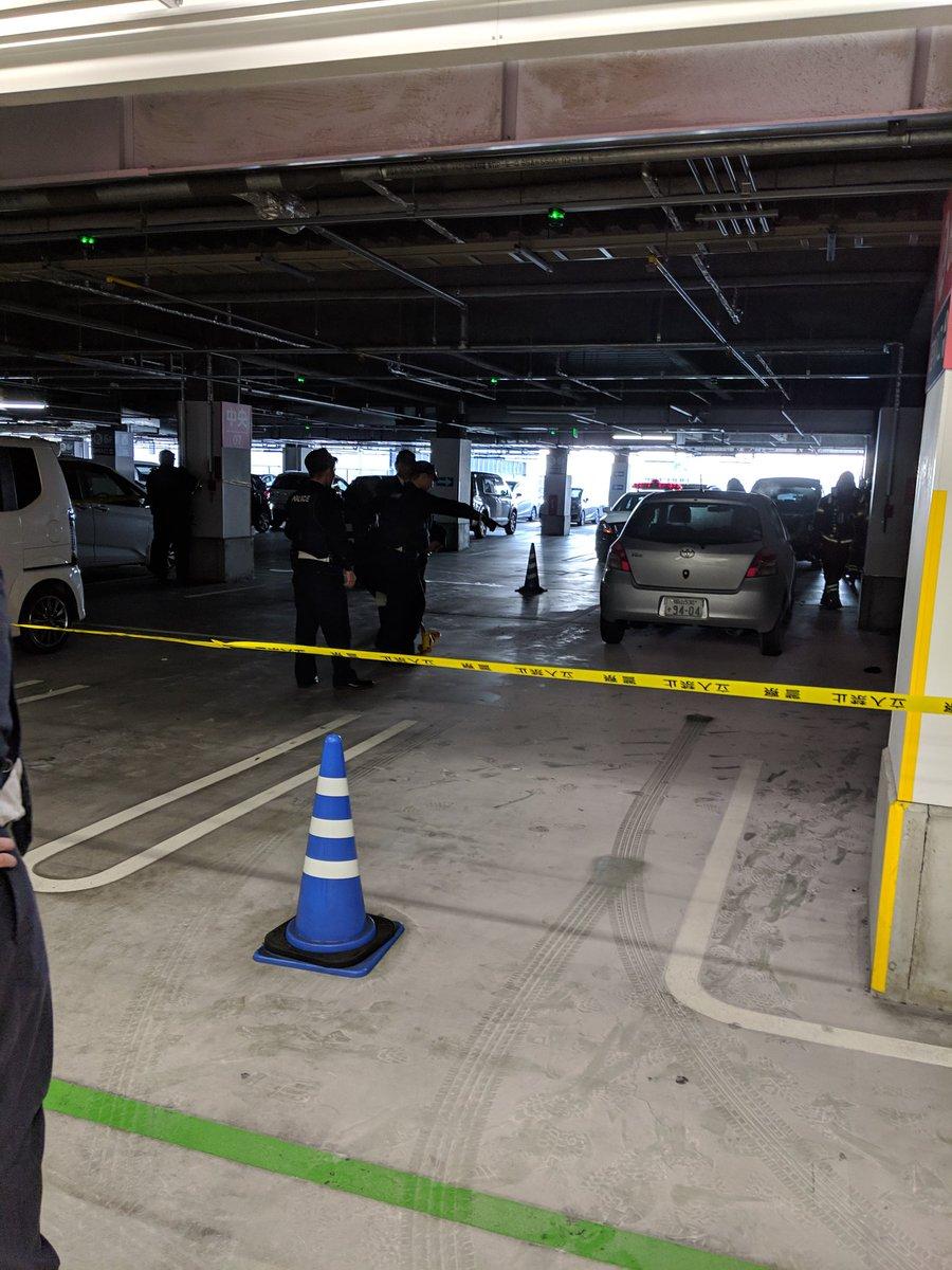 イオンモール岡山の立体駐車場で火災の現場画像