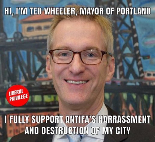 "Mayor Ted Wheeler a Twitter: ""Joey Gibson, the leader of Patriot Prayer,  has led demonstrations that have caused significant disruption and  increased fear in our community."""