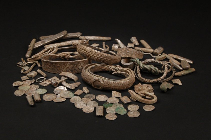 Coins, glass, bracelets, and torques from the Silverdale Horde.