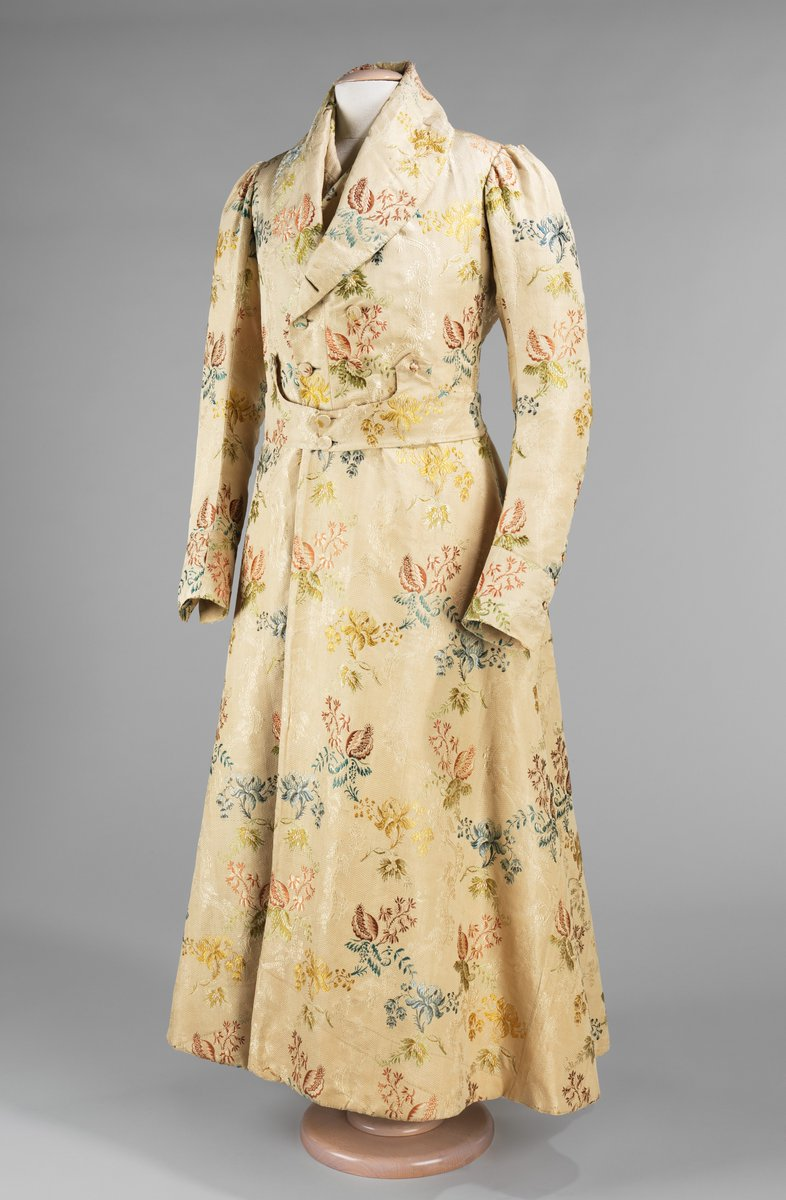 Not only is this banyan a good example of man's ornate leisure wear, but it also illustrates how fine dress silks from the previous century were recycled in the nineteenth century. This is evidenced in the style of the two pieces and the creases and piecing in the fabric, indicating it is from a former garment. Men were often depicted in portraits wearing banyans, for it made an illusion to a gentleman's high rank, general intellect, and social status.