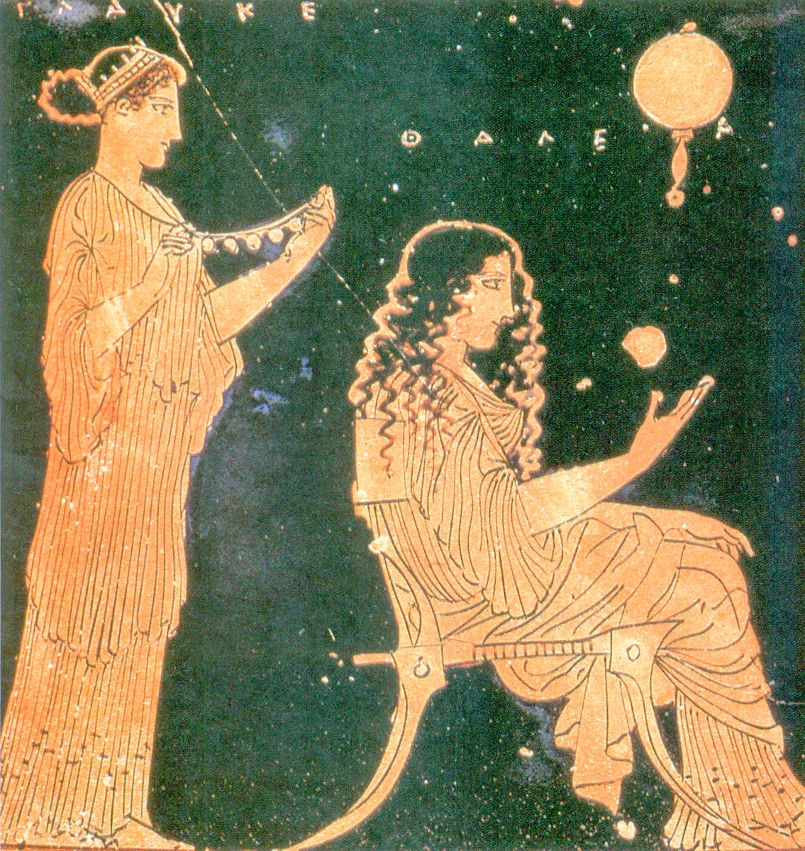 Women preparing for a wedding in a Greek relief on pottery. One woman sits in a chair, with long corkscrew curls; another stands behind her, holding up a necklace. Public domain.