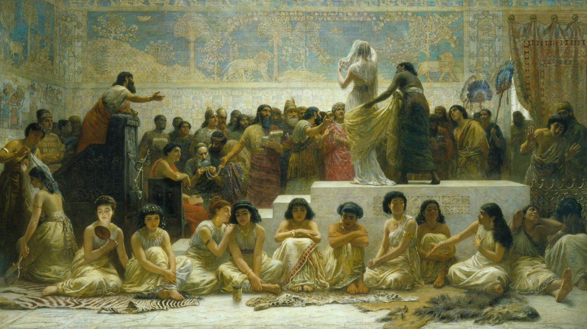 Babylonian marriage market, with women being auctioned off to suitors. They are all draped in white linens. Public domain. Edwin Long, 1875.