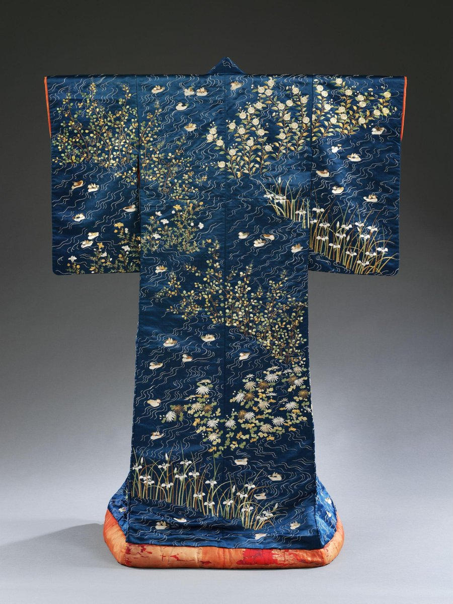(c)Victoria and Albert Museum, London - Kimono with decoration of ducks on rippling water among irises and pinks.
