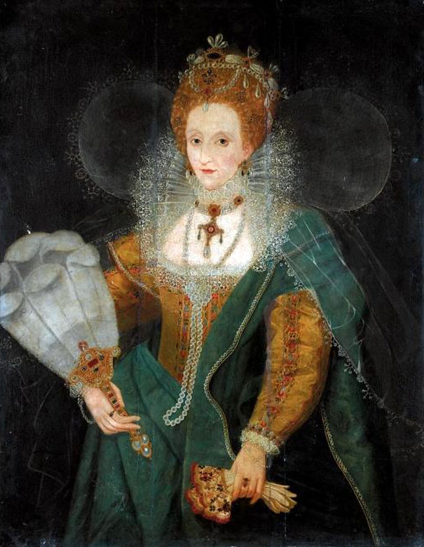 Queen Elizabeth I with a gold gown, high lace collar, and a forest green sash draped across her shoulder and tied around her waist. She is wearing a red wig with a crown, carrying embroidered gloves, and has a feathered fan in one hand. Public domain. Unattributed artist.