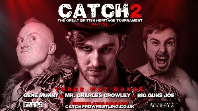 """CATCH Pro-Wrestling on Twitter: """"#CATCH2 MATCH ANNOUNCEMENT Three Way  Dance, elimination rules, 2 falls to a finish Gene Munny vs Mr. Charles  Crowley vs Big Guns Joe #StakesAreRaised 📅24/7 🏛 @MancAcademy 🎫"""