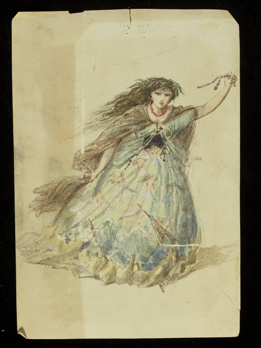 ©Victoria & Albert Museum, London - This design was possibly created by Jules Marre for Charles Frederick Worth. It is an extremely theatrical design with the skirt decorated with the rigging of a sailing-ship sinking in stormy seas. The skirt also has rocky crags depicted around the hem, and wind heads blowing on the upper part. A cloak of stormy black tulle layered over blue tulle suggests storm clouds and torrential rain, and the wearer wears a coral necklace. Her pose and angry expression embody the vengeance of the tempest which caused the destruction of the ship against the rocks.