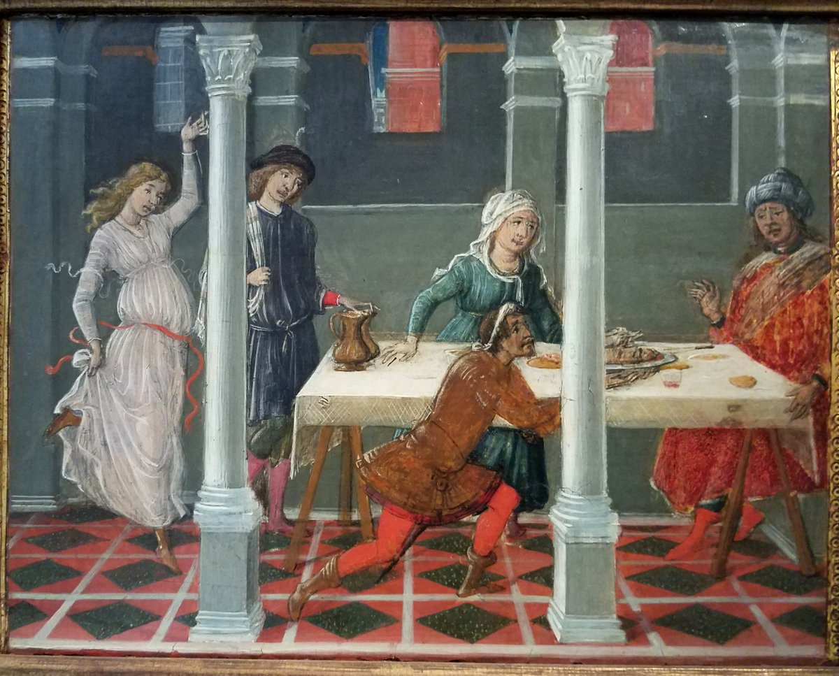 The Dance of Salome. Exhibit in the Hyde Collection - Glens Falls, New York, USA. - Salome dancing at the end of a table, blond hair and a dress of sheer white. Four men sit before a long table, with long columns between them.
