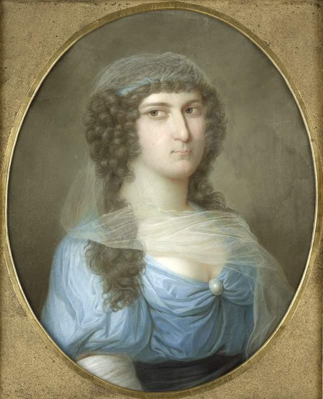 Bildnis Katharina Margaretha von Griesheim (geb. von Bülow) (1722-1762) - woman in the 18th C swathed in a gauze veil, wearing a blue taffeta dress, in an oval frame. She looks sus. Public domain.