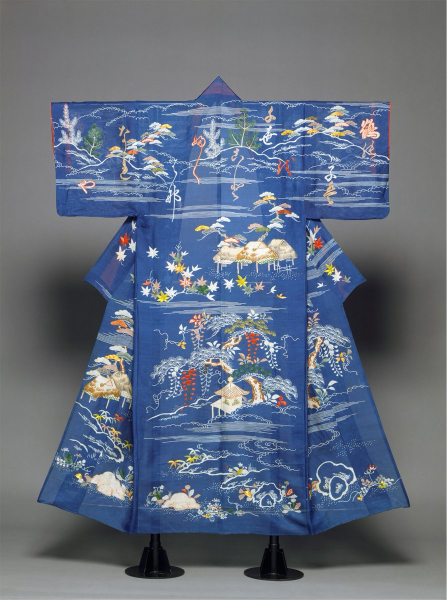 This light, unlined robe (hito-e) is designed for summer. On a blue background, flowers and plants of the four seasons appear in landscape settings. Spring flowers are represented along the hem; above them we see wisteria and other summer plants; toward the middle appear autumnal maple leaves; and around the neckline and on the sleeves are winter pine-sapling motifs. Met museum, public domain.