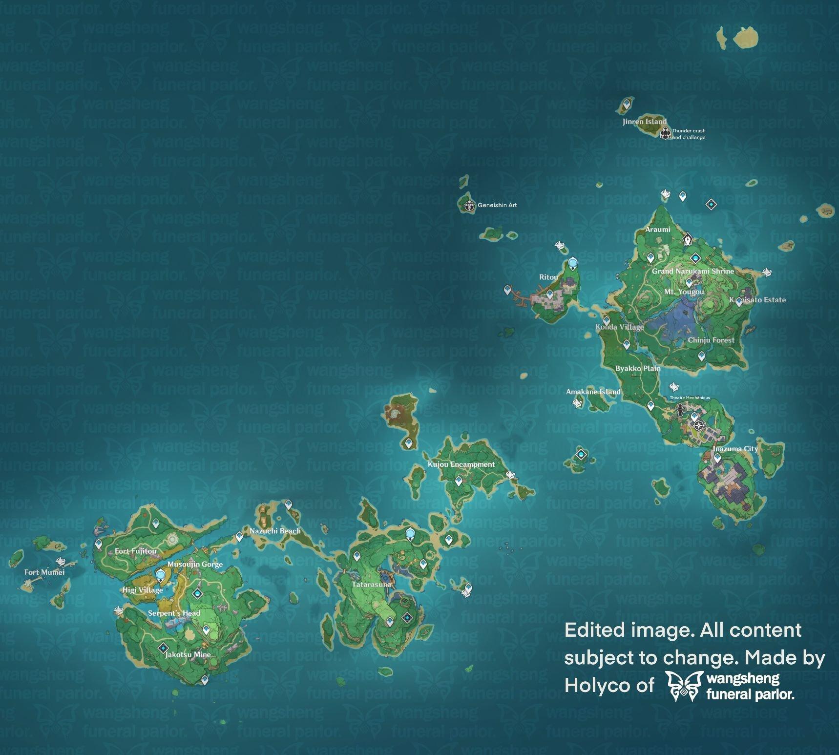 The blow was so powerful it cut yashiori island in two. Genshin Impact Leaks Fr En On Twitter Full 2 0 English Map Genshinimpact Genshin ŎŸç¥žã'¢ãƒ—デ情報 ŎŸç¥žã'¢ãƒ—デ情報 Inazuma