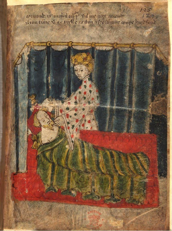 From the Nero Cotton MSS, a knight in a green blanket, sleeping.