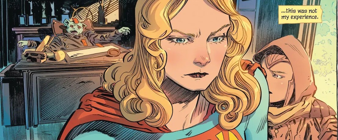 Supergirl and her companion are walking away from a corrupt clerk.
