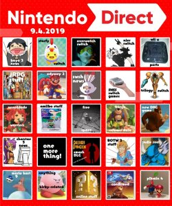 on twitter for the nintendo direct tomorrow here s my bingo board its hype time aah
