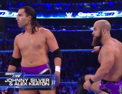 """The Local Competitor on Twitter: """"On @WWE SmackDown Live, Heavy Machinery  defeated Johnny Silver & Alex Keaton. Johnny Silver is John Silver  @SilverNumber1 & Alex is Alex Reynolds @YTAlexReynolds. Silver & Reynolds"""