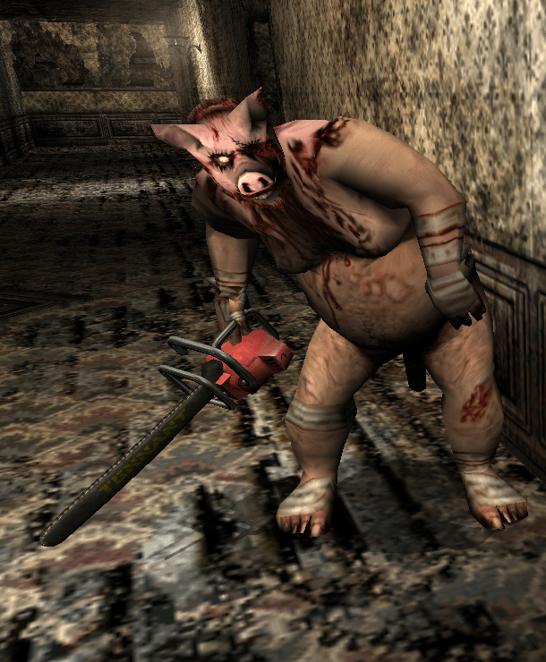 """Emil Ackre on Twitter: """"Reminds me of the nightmare boss from Manhunt:  Piggsy. Fun times being chased by that one.… """""""