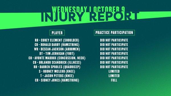 philadelphia eagles injury report # 57