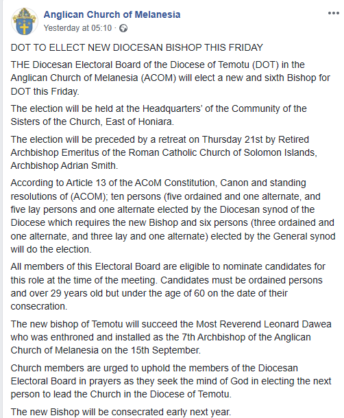 THE Diocesan Electoral Board of the Diocese of Temotu (DOT) in the Anglican Church of Melanesia (ACoM) will elect the next and sixth Bishop for DOT…