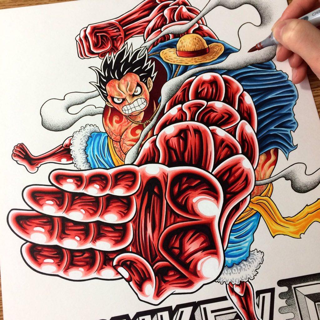 Again, i choose monkey d. Neco Draw On Twitter Luffy Gear 4th