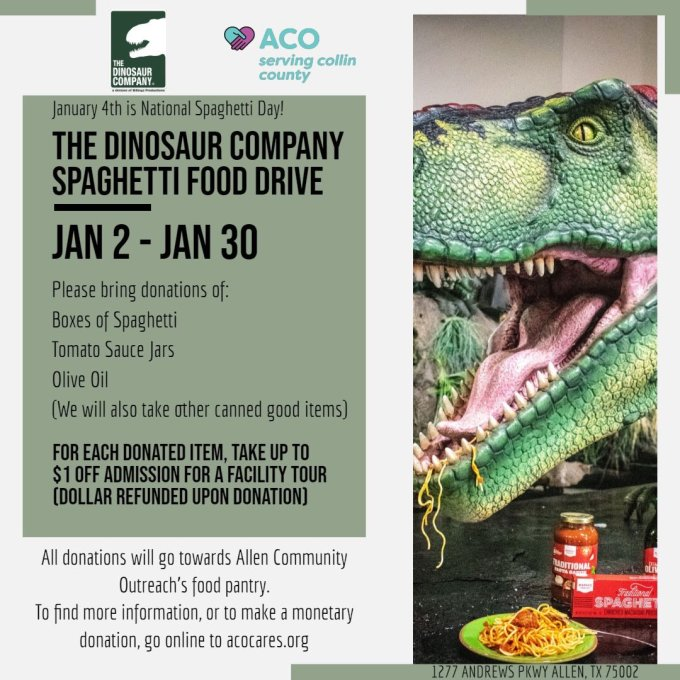 The Dinosaur Company On Twitter Happy Nationalspaghettiday Our Dinosaurs Love Spaghetti But They Love Helping People More We Got The Pleasure Of Visiting Aco Allen Community Outreach And We Re