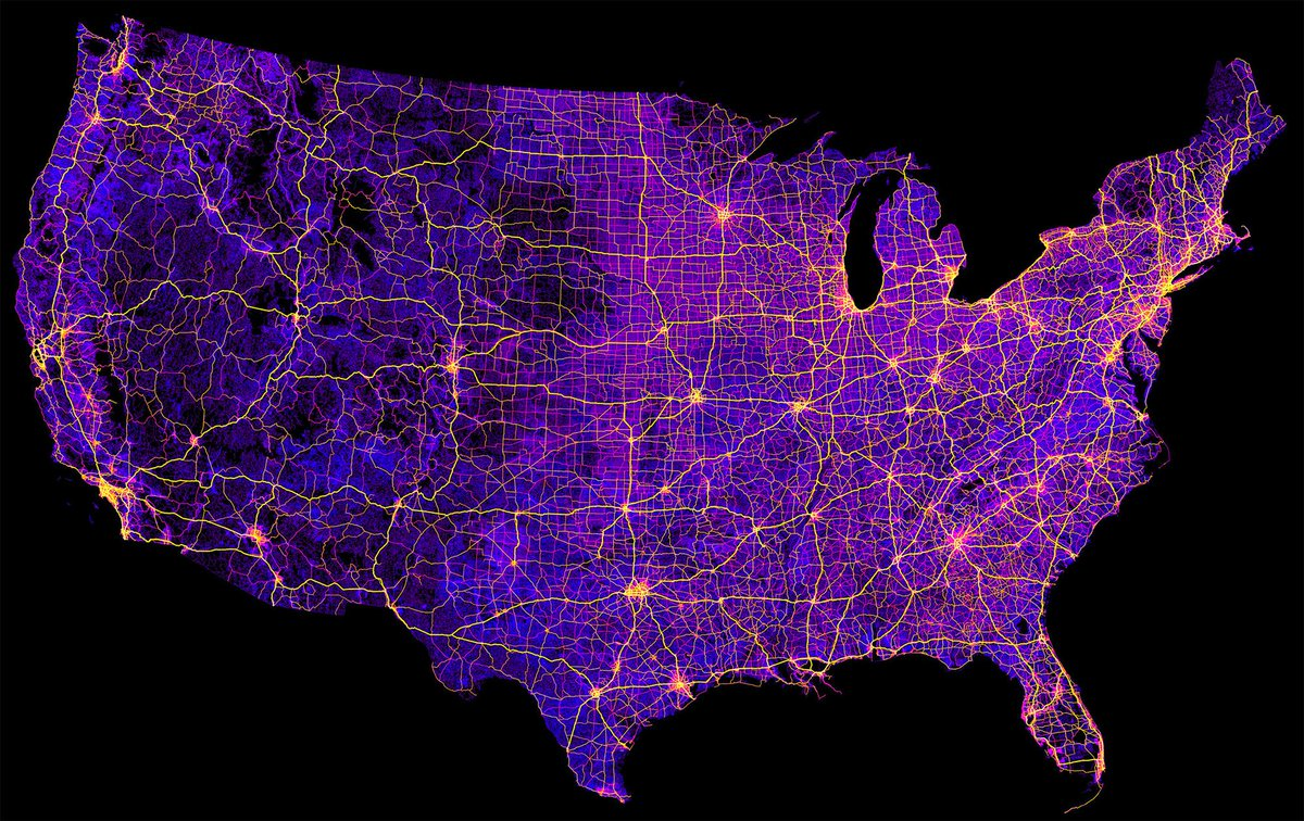 Detailed map usa with cities and roads. The Big Data Stats On Twitter Map Of The United States 8 Million Miles Of Roads Streets And Highways Https T Co Flxnaqv1q9