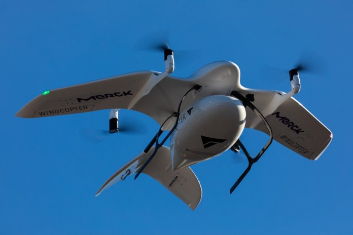 A Wingcopter and Merck delivery drone