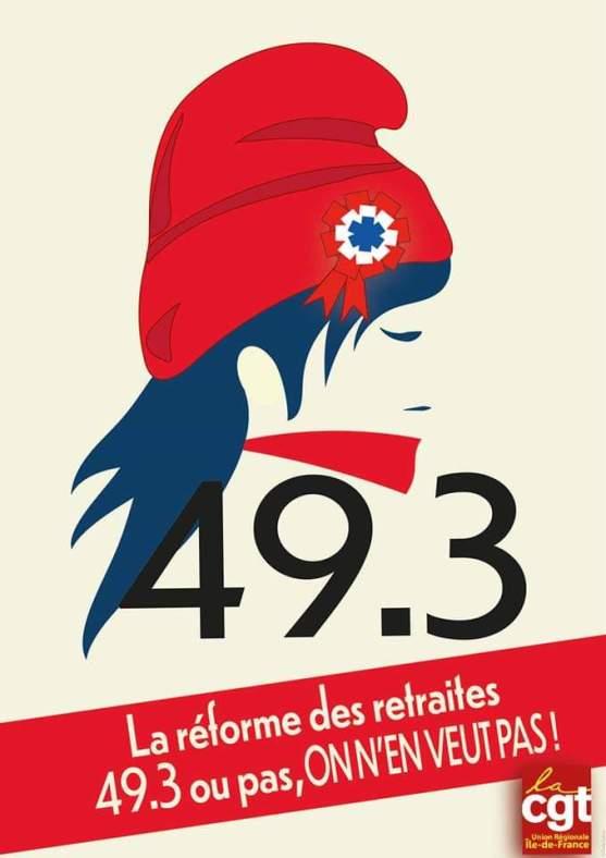 """Résultat de recherche d'images pour """"49.3 retraites ON EN VEUT PAS"""""""