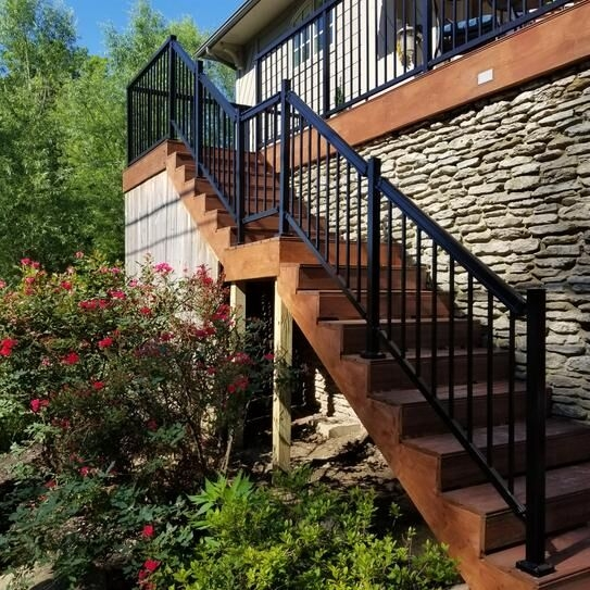 Peak Products On Twitter Step Up Your Railing Game This Spring   Peak Aluminum Stair Railing   Glass Panels   Stair Post   Railing Deck   Balcony Railing   Outdoor Stair