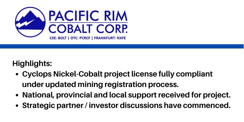 News Release: Pacific Rim Cobalt Corp Secures Government Approvals.  CSE: $BOLT ... 1