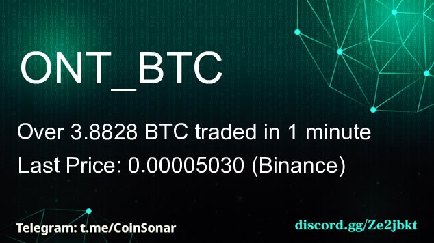 $ONT volume boost! 75 times the average volume in #ONT to $BTC pair (Binance)  N... 1
