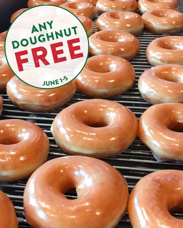 "Krispy Kreme on Twitter: ""#NationalDoughnutDay is coming! And this year we're celebrating for 5 days not 1! 🎉 Any #doughnut, any day…FREE June 1-5. 🙌 #KrispyKreme Visit us for #NationalDoughnutWEEK & get"