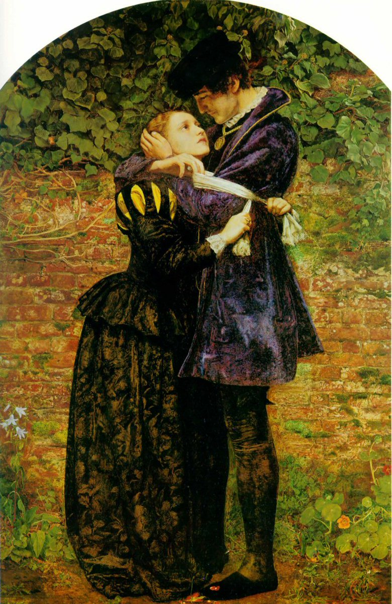 A Huguenot, on St. Bartholomew's Day, Refusing to Shield Himself from Danger by Wearing the Roman Catholic Badge - by John Everett Millais. Two figures, a young woman in the arms of a young man, who is looking down tenderly upon him. Both dressed in period attire, very romanticized.