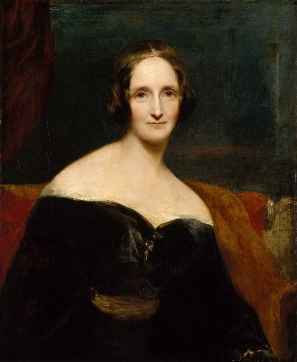 A portrait of Mary Shelley, in a black dress that shows off her shoulders. She has deep-set eyes, hair parted in the middle, and thin lips. She is staring directly at the painter.