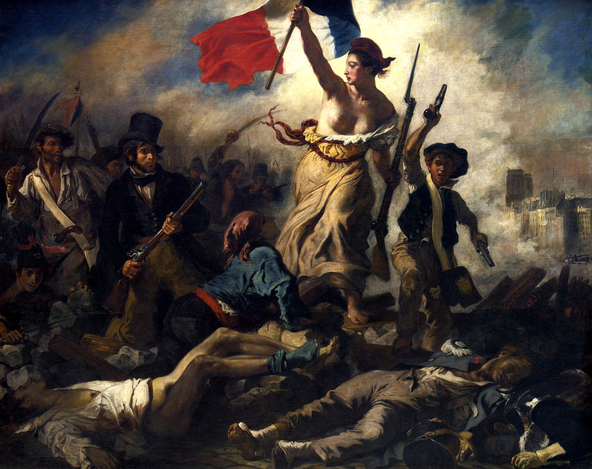 Delacroix's July revolution depiction of Liberty, a woman leading her people to victory over a battlefield.