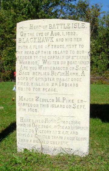 A monument describing the events of Bad Axe Massacre.