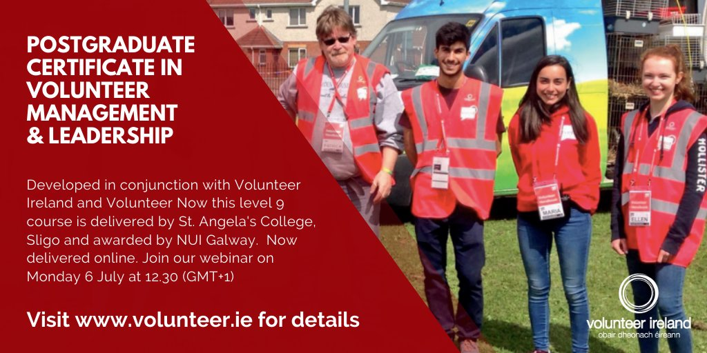Is now the time to think about a postgrad in Volunteer Management and Leadership? Information session on Monday 06 July. #volops