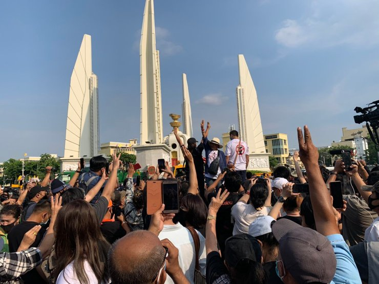 Hundreds of Protesters Rally for Democracy in Bangkok