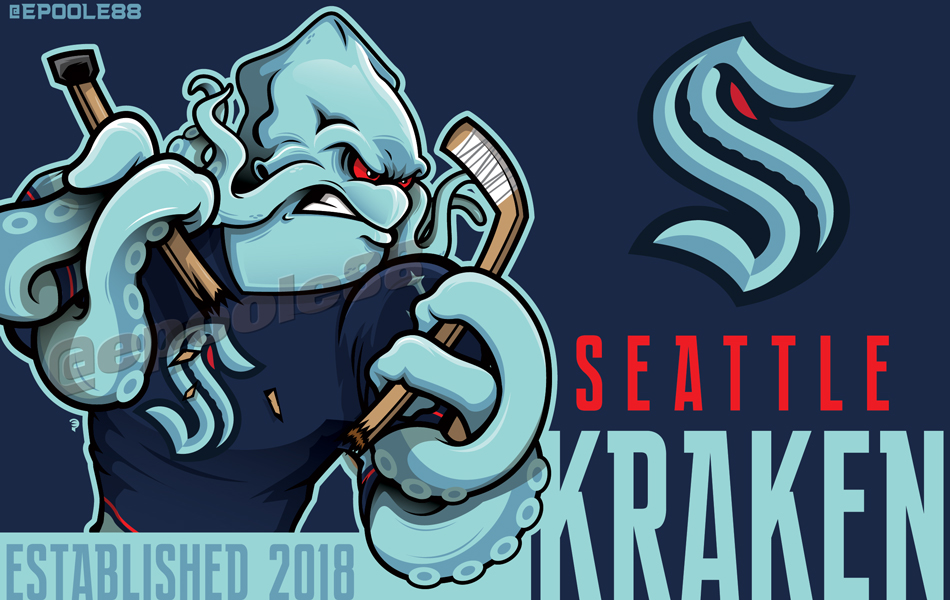 FINALLY!...Some @NHLSeattle_ artwork. One featuring the Kraken by his lonesome, ... 1