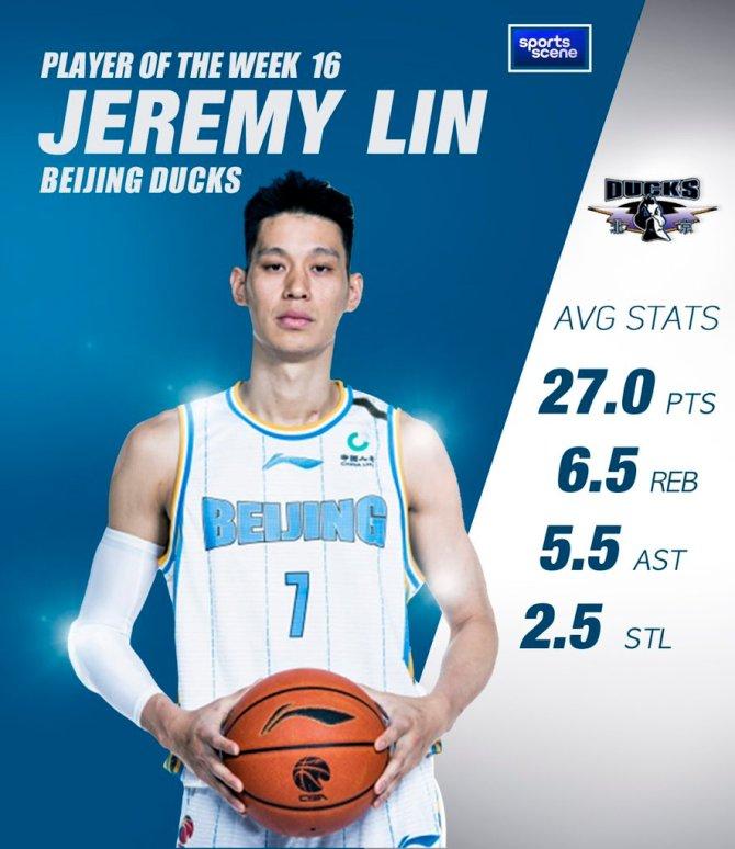 CBA Player of the Week 16: Jeremy Lin @JLin7  AVG STATS 27.0pts, 6.5reb, 5.5ast, 2.5stl #cbaleague #CBA @JLinPortal